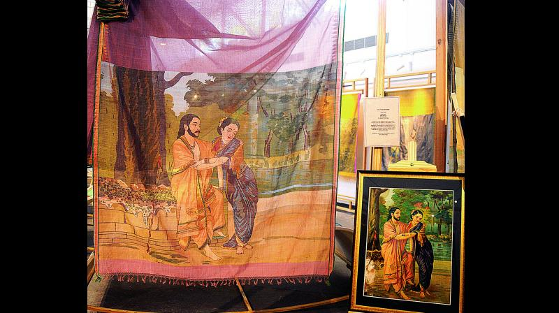 Arjun Shubadra painting recreated on a jamdani saree.