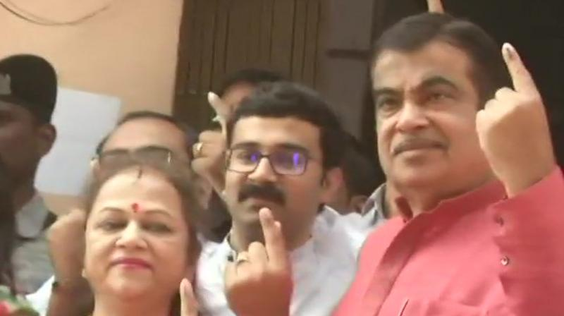 Gadkari arrived at the polling booth at Town Hall in Mahal area along with his family members, including wife and two sons, around 10 am. (Image: ANI twitter)