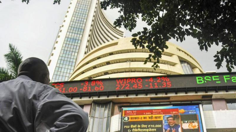 Sensex surges nearly 400 pts in early trade; Nifty tops 11,500. (PTI Photo)