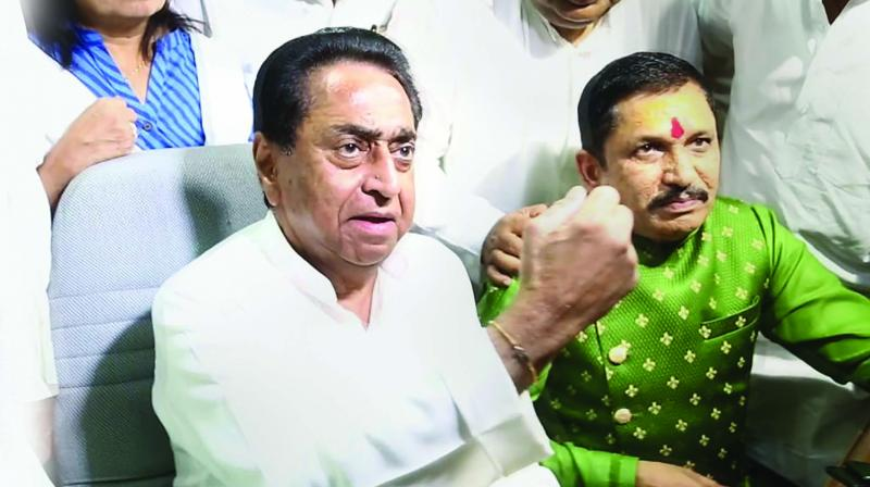 A file photo of Madhya Pradesh chief minister Kamal Nath speaking to media persons in the state Assembly in Bhopal.