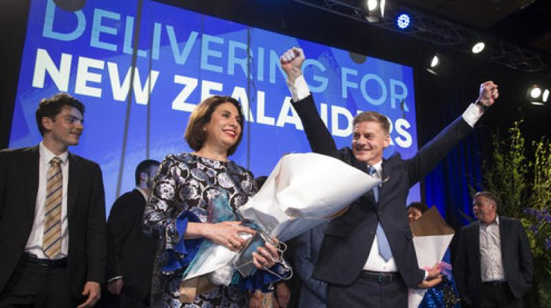 New Zealand Prime Minister Bill English, front right, celebrates with his wife Mary English at a party function in Auckland, New Zealand. (Photo: AP)