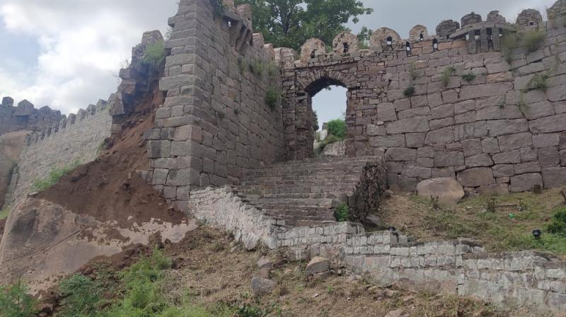 The nearly 20-foot tall wall, a portion of which collapsed, is on the way to the highest point of the fort.