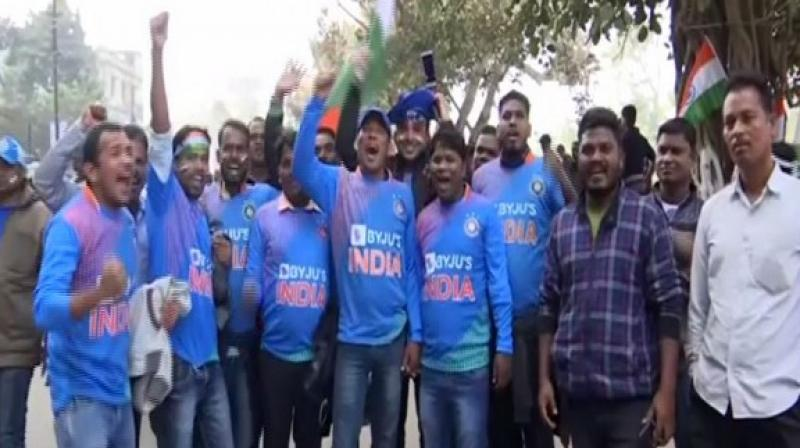 A large number of fans rushed to the Barabati Stadium here on Sunday to watch the series-decider between India and West Indies. (Photo:ANI)