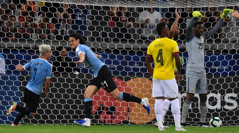 Luis Suarez and Edinson Cavani were on target as Uruguay thumped 10-man Ecuador 4-0 in their opening Group C match at the Copa America on Sunday. (Photo:AFP)