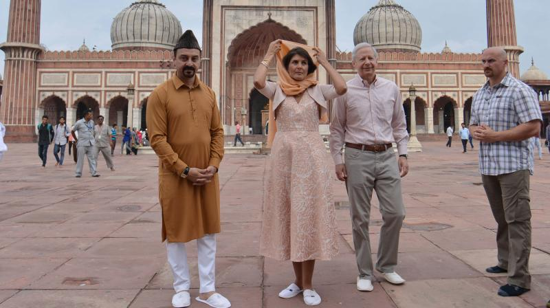 US ambassador to the UN Nikki Haley at the Jama Masjid in Old Delhi on Thursday. (Photo: Asian Age)