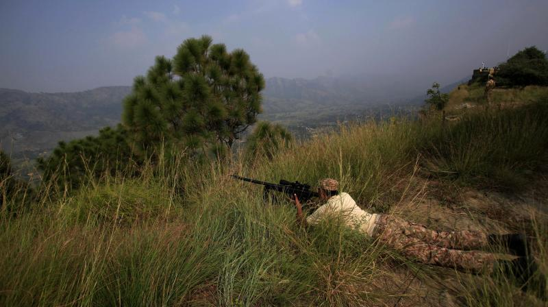 Pakistan army soldiers take position at a forward area Bagsar post on the Line of Control (LOC), that divides Kashmir between Pakistan and India, in Bhimber. (Photo: File/AP)