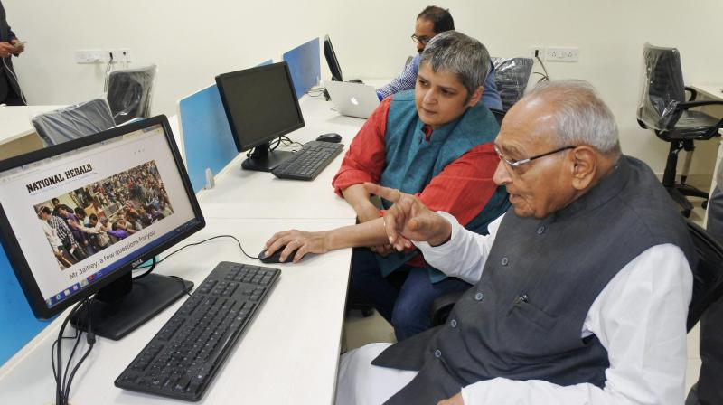 Motilal Vora, Managing Director of Associated Journals Limited, the publishers of National Herald group of newspapers, at the launch of their English website, in New Delhi. (Photo: PTI)