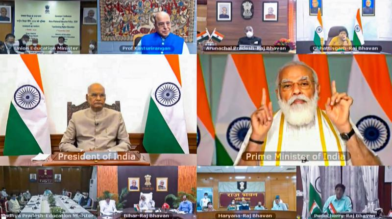 Prime Minister Narendra Modi addresses the inaugural session of the Governors' Conference on the National Education Policy through video conferencing, in New Delhi. President Ram Nath Kovind is also seen. — PTI photo