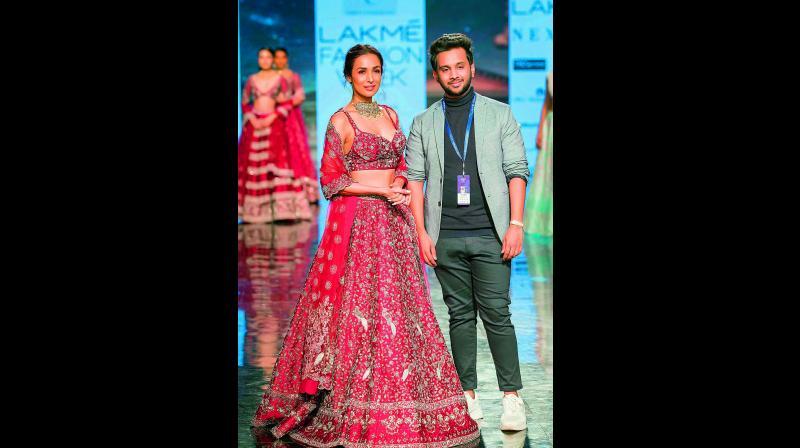 The designer's signature colour palette effortlessly flattered the Indian skin tones.