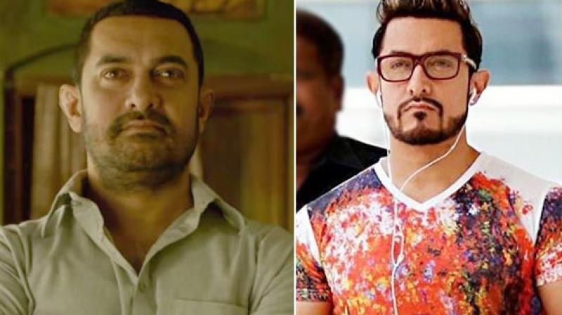 Aamir Khan in stills from 'Dangal' and 'Secret Superstar.'