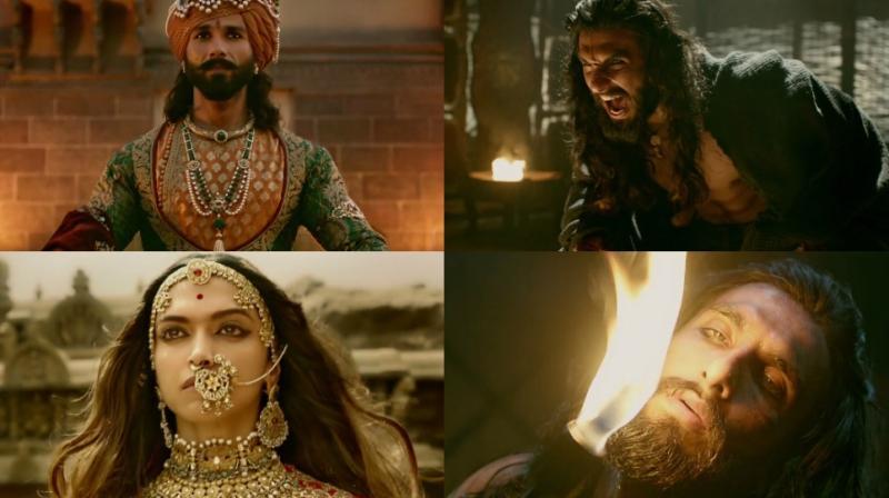 Shahid Kapoor, Deepika Padukone and Ranveer Singh in 'Padmavati' trailer.