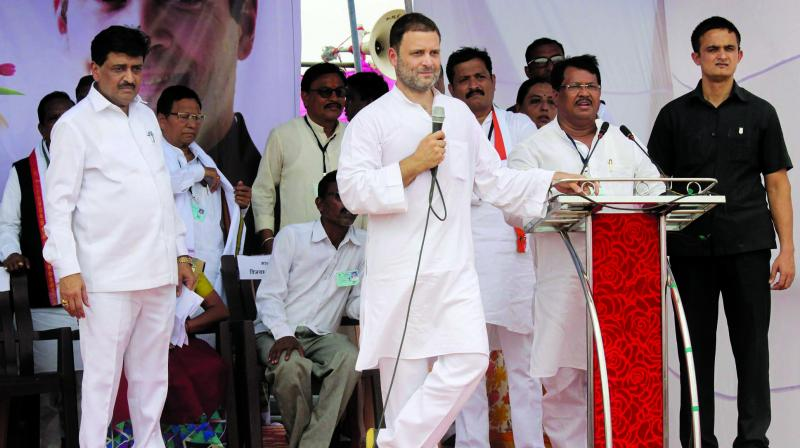 Congress president Rahul Gandhi addresses farmers at Nanded village in Chandrapur district of Maharashtra. (Photo: PTI)