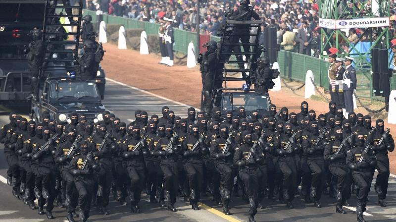 NSG commandoes during the full dress rehearsal for the Republic Day parade, at Rajpath in New Delhi. (Photo: PTI/File)