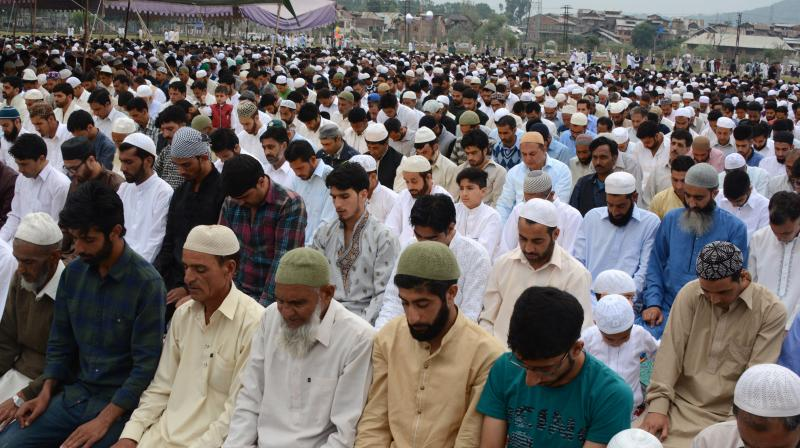 Eid prayers at Kashmir Main Eidgah in Downtown Srinagar (Photo: Habib Naqash)