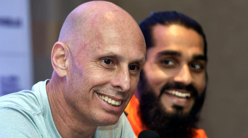 Indian football team coach Stephen Constantine and captain Sandesh Jhingan during a press conference in Mumbai. (Photo: AP)