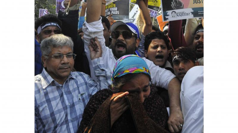 Najeeb's mother Fatima during a protest march in New Delhi. (Photo: Bunny Smith)