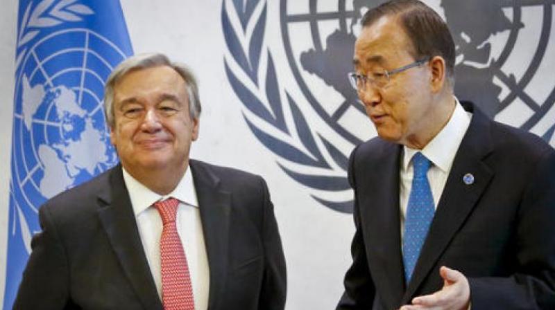 UN Secretary-General Antonio Guterres and Former UN Secretary-General Ban Ki-moon. (Photo: AP)