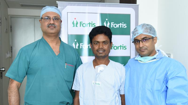 L to R Dr. KM Mandana (Transplant surgeon), Dilchand Singh, Rupayan Roy ( Bengal's first heart recipient from Fortis Malar)
