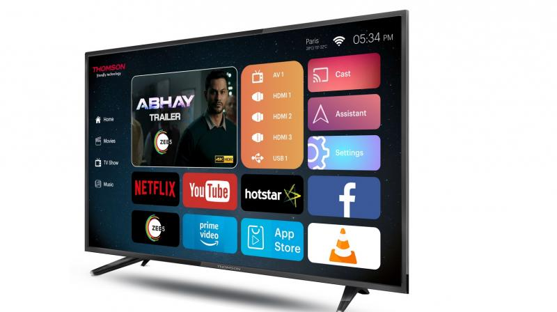Thomson 40-inch UHD 4K Smart TV sports a 40-inch Zero Brt Dot HDR 10 panel that is manufactured by Samsung. The panel features a resolution of 3840x2160 pixels with a dynamic contrast ratio of 400000:1 and a viewing angle of 178 degrees both horizontally and vertically.