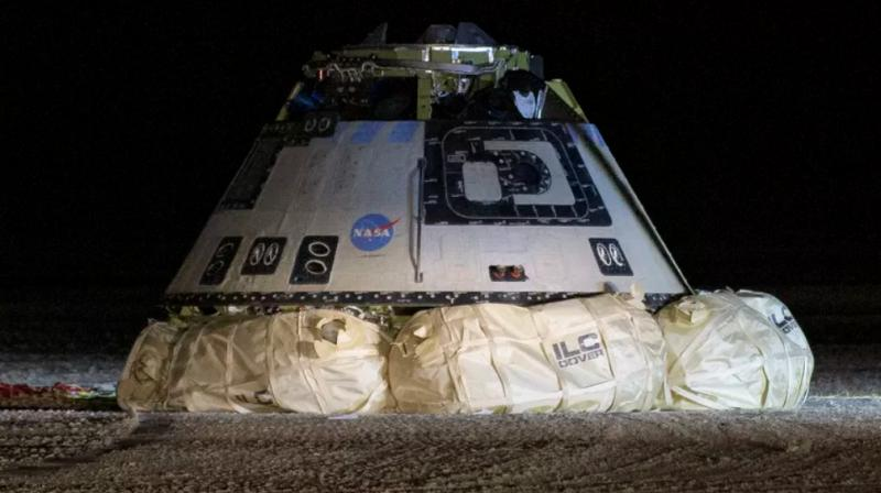 After Starliner's touchdown, teams of engineers in trucks raced to inspect the vehicle, whose six airbags cushioned its impact on the desert surface as planned, a live video feed showed. (Photo: NASA)