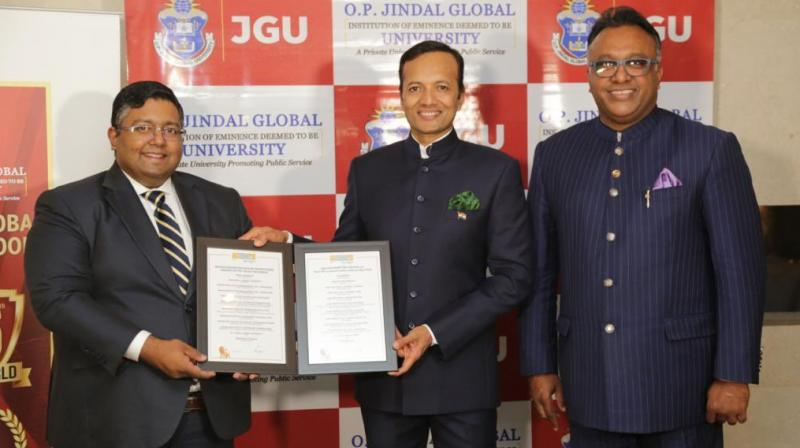 JGLS, a part of the O.P. Jindal Global University (JGU), has jumped from the 101-150 bracket in the previous year. (Image credit : Twitter/@MPNaveenJindal)
