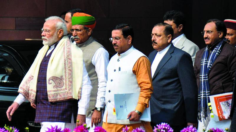 Prime Minister Narendra Modi with BJP president J.P. Nadda and other party leaders at Parliament House in New Delhi on Tuesday. 	— (Photo: Pritam Bandyopadhyay)