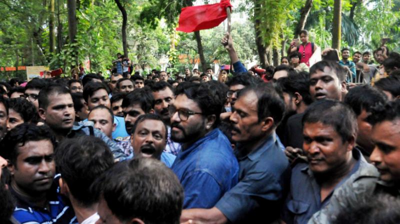 Supriyo was on Thursday shown black flags and heckled by a section of students at Jadavpur University, who also stopped him from leaving the campus prompting West Bengal Governor Jagdeep Dhankhar to rush to JU along with a large police force. (Photo: PTI)