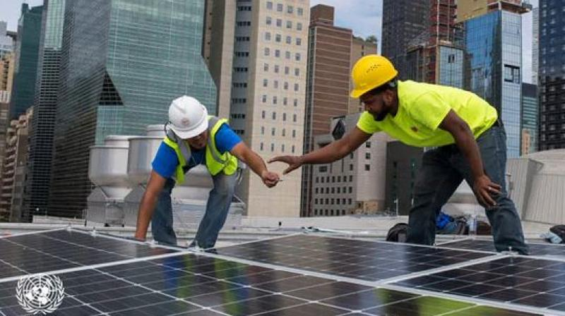 At a contribution of about one million dollars, India has gifted solar panels that have been installed on the roof of the UN Headquarters in New York, one panel each for every 193 UN Member State. (Photo: UN | Twitter)