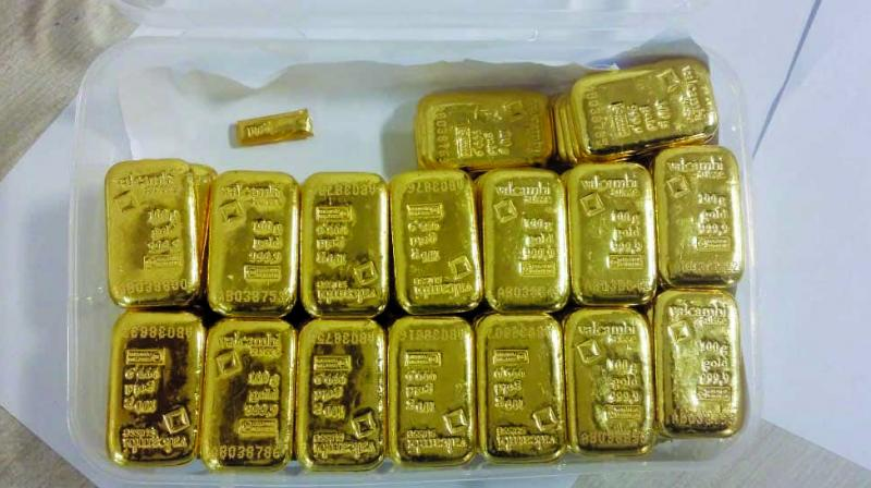 Globally, spot gold was trading lower at USD 1,273.80 an ounce, while silver was down at USD 15.06 an ounce in New York.