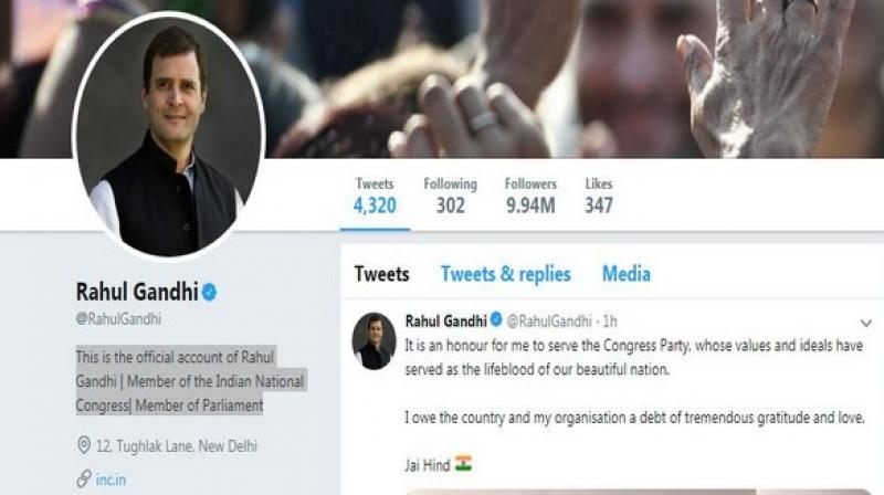 'This is the official account of Rahul Gandhi | Member of the Indian National Congress| Member of Parliament,' his bio on Twitter now reads. (Photo: ANI)
