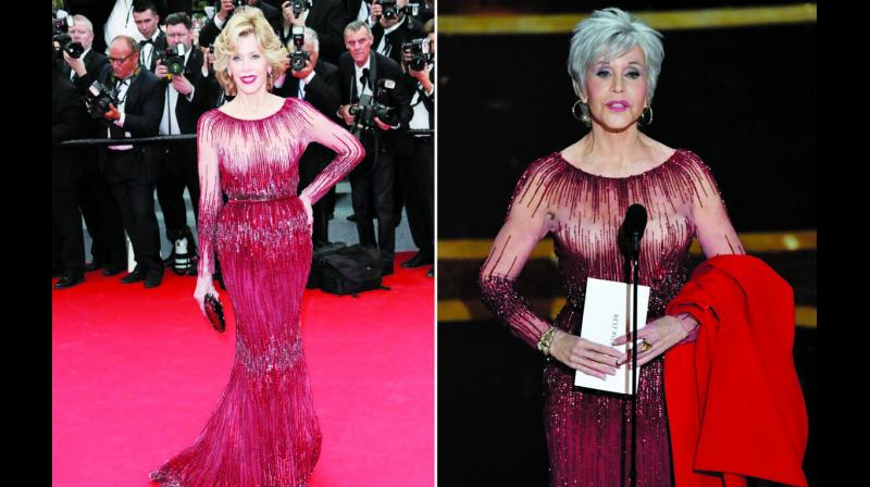 At Academy Awards this year (right), Jane Fonda recycled her Ellie Saab gown from Cannes Film Festival 2014 (left). (Photo: Twitter)