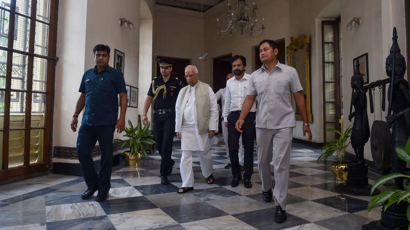 Outgoing governor Keshari Nath Tripathi at Governor House in Kolkata on Saturday.  	(Photo: PTI)