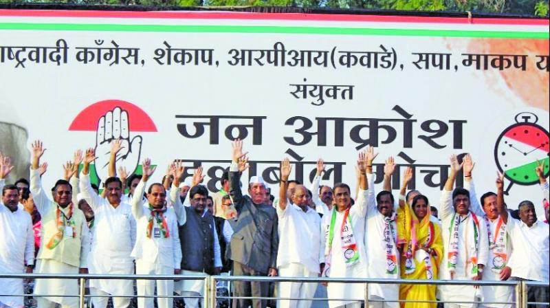 Congress and NCP leaders at the 'Jan Akrosh Halla Bol' rally in Nagpur on Tuesday.