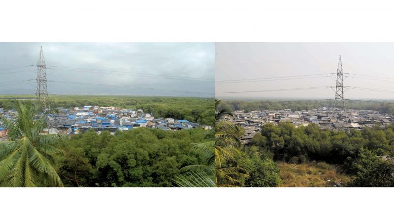 The slum encroachment in Vikhroli near Kannamwar Nagar in 2010 (left) and  2017 (right).