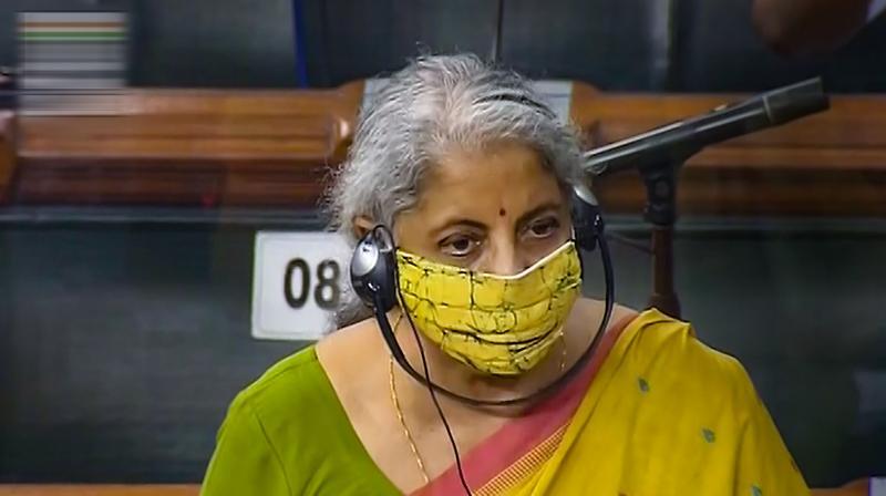 Union Finance Minister Nirmala Sitharaman speaks in the Lok Sabha during the Monsoon Session of Parliament, in New Delhi, Thursday, August 5, 2021. (LSTV/PTI Photo).