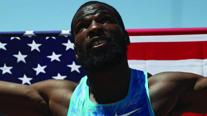 Ameer Webb celebrates after winning the men's 200m final of the 2017 USA Track and Field Outdoor Championships in Sacramento, California on Sunday. (Photo: AFP)