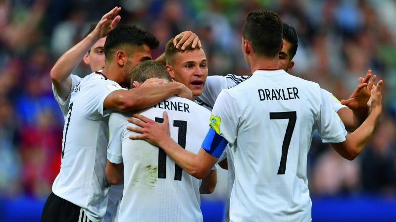 Germany forward Timo Werner celebrates his goal with team mates in their Confederations Cup Group B match against Cameroon in Sochi on Sunday. (Photo: AFP )