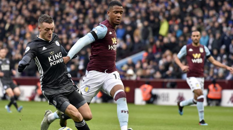 Leicester City set a club record of eight successive top flight wins after two goals from Jamie Vardy helped them to an impressive 4-1 Premier League victory at Aston Villa on Sunday. (Photo:AP)