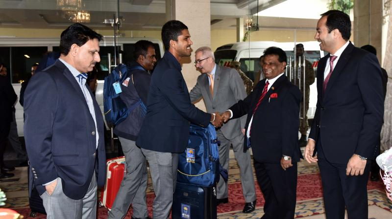 The Sri Lankan cricket team on Monday arrived in Pakistan to play a two-match Test series. (Photo:Twitter)