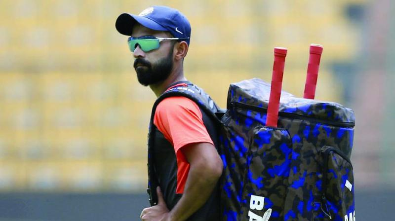 Ajinkya Rahane at training session in Bengaluru on Wednesday. (Photo:  AP)