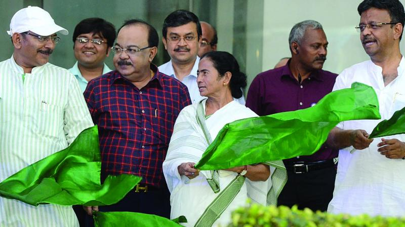 West Bengal chief minister Mamata Banerjee flags off ambulance at Nabanna on Wednesday. (Photo: Asian Age)