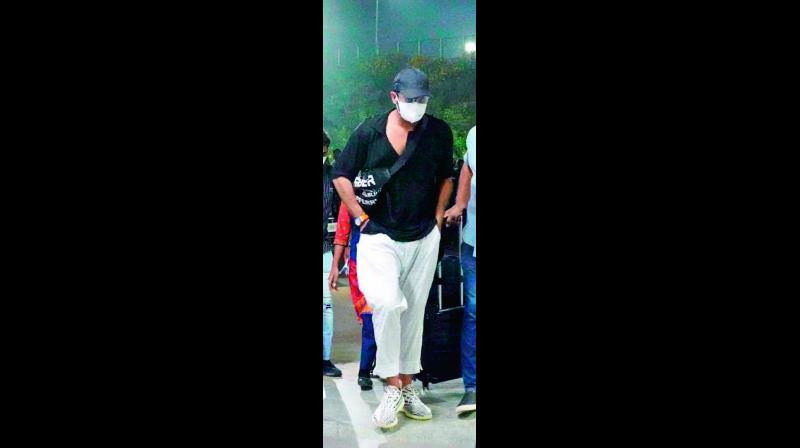 Actor Prabhas was seen at the Hyderabad airport wearing a mask, doing his bit to stay away from the infection.