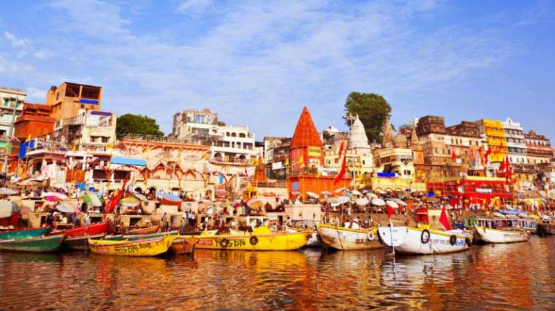 """About 300 men, on Monday, gathered at the Manikarnika Ghat where cremations of the dead are held and performed the """"pind-daan"""" – a post-death ritual that is supposed to provide salvation to the deceased."""