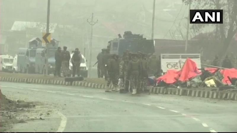 Nearly 40 CRPF men were killed in a terror attack in J&K's Pulwama district. (Photo: ANI)