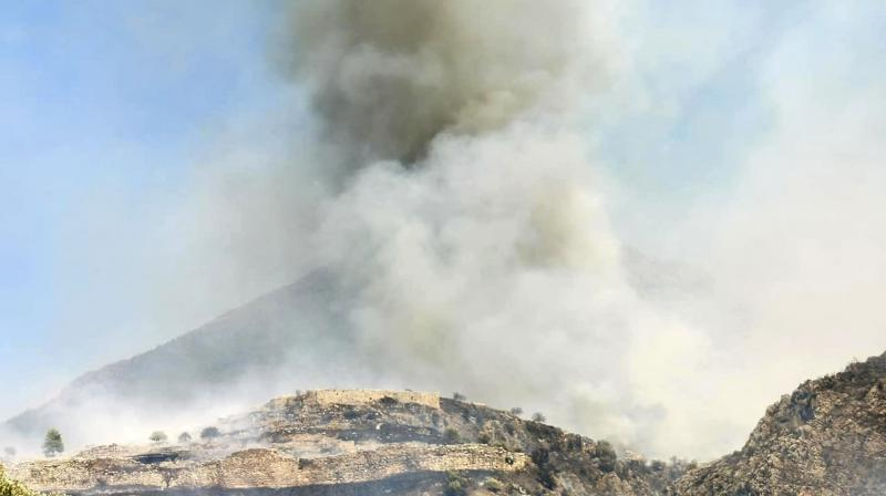 Smoke raises during a wildfire over the ancient site of Mycenae, Greece. (AP)