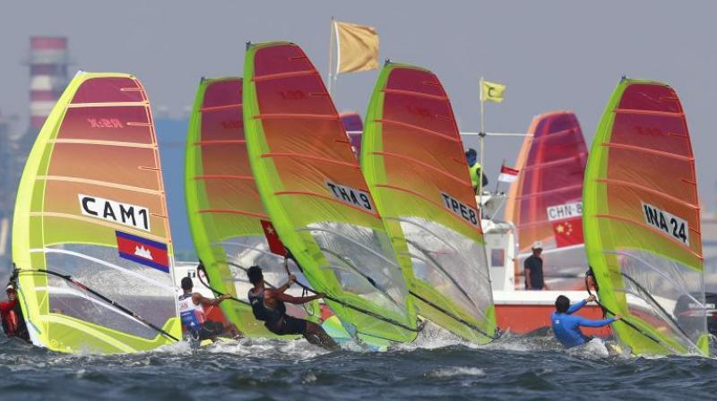 Varun Thakkar Ashok and Chengappa Ganapathy Kelapanda won bronze with a total of 53 after race 15 in the 49er men's event. (Photo: AP)