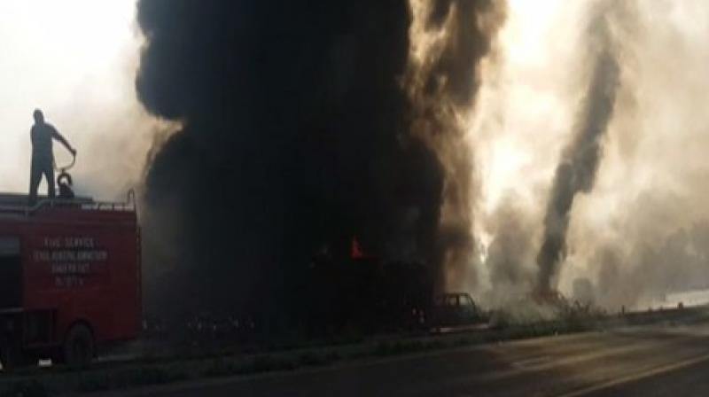 Eight other vehicles were destroyed, officials said. (Photo: Youtube grab)