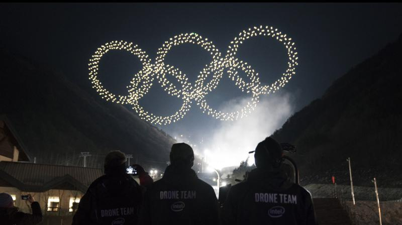 Intel Shooting Star drones form the Olympics rings as part of the Olympic Winter Games PyeongChang 2018 opening ceremony drone light show. (Credit: Intel Corporation)