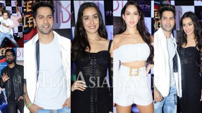 The cast and crew along with the makers of the upcoming dance film Street Dancer 3D celebrated the wrap up of their shoot on Tuesday night. Present at the wrap up party were Varun Dhawan, Shardddha Kapoor, Nora Fatehi, Producers Bhushan Kumar, Divya Khosla Kumar, Lizelle D'Souza and Director Remo D'Souza. (Photos: Viral Bhayani)