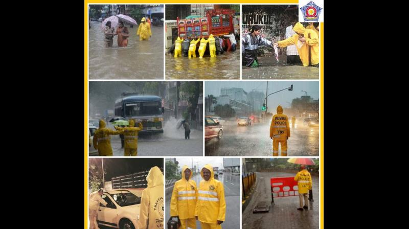 The picture accompanying the tweet is a collage of photos features policemen helping residents as the city has been battered by heavy downpour of late, disrupting normal life. (Photo: Twitter I @MumbaiPolice)